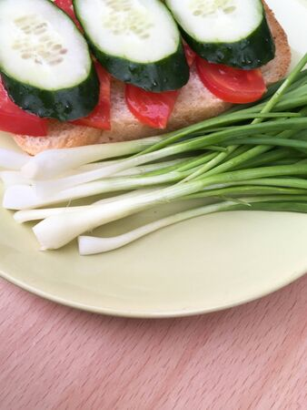 a sandwich of bread with tomatoes and cucumbers on a plate with green onions. healthy breakfast for every day