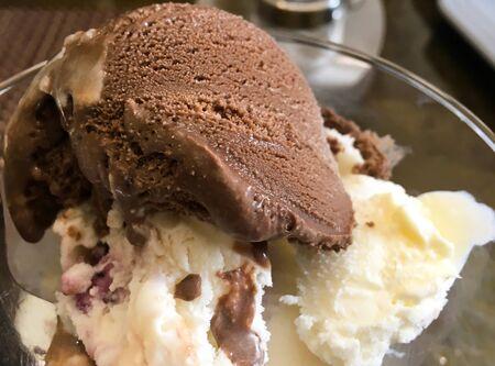 Chocolate ice cream balls in a cup. delicious ice cream dessert