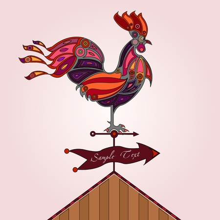 cockerel: red, pink and orange colored stylized rooster on rooftop  Illustration