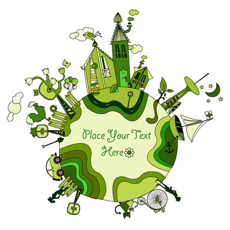 green cartoon planet with space for your message