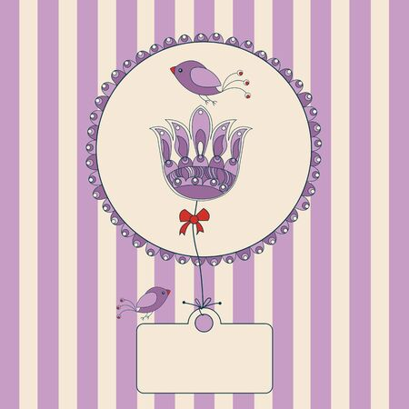 flower label with purple and white striped background and space for your text  Vector