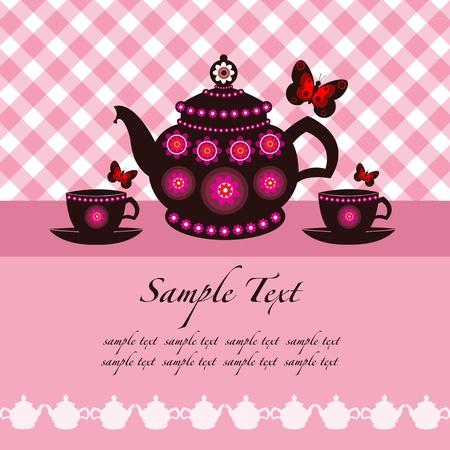 tarde de cafe: tetera y tazas de té de fondo con espacio para el texto Vectores