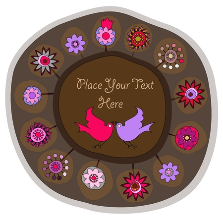 decorative folk plate with space for your message Stock Vector - 11378599