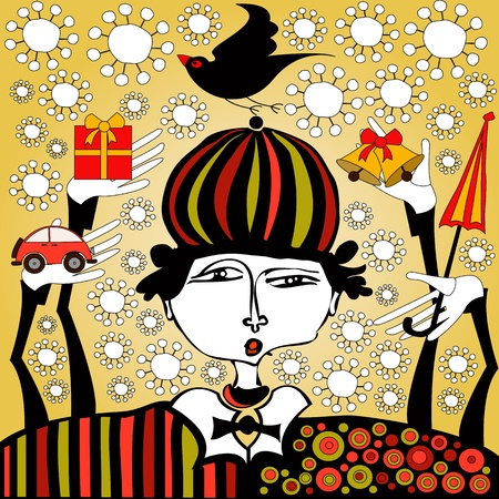 hand-drawn clown with presents in his hands Stock Illustratie