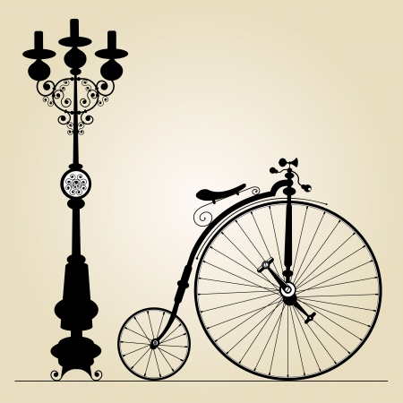 velocipede: old bicycle template with space for your message  Illustration