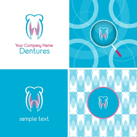 logo and background for denture company Stock Illustratie