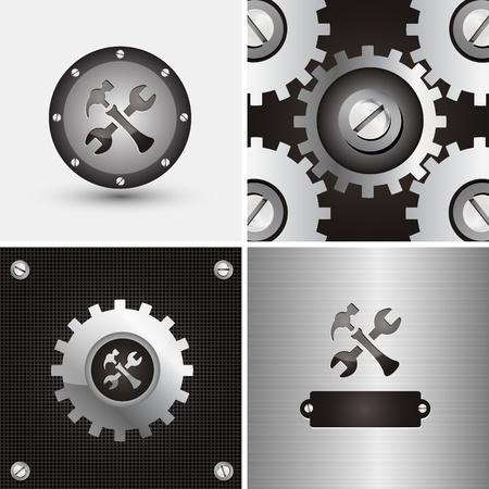 riparatore: simbolo e sfondo per azienda meccanica Vettoriali