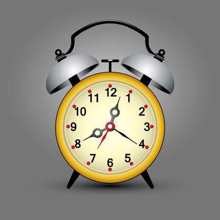 yellow retro ticking clock with space for your message Stock Illustratie