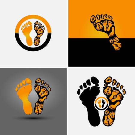 finger prints: footprint symbol and background for sport company