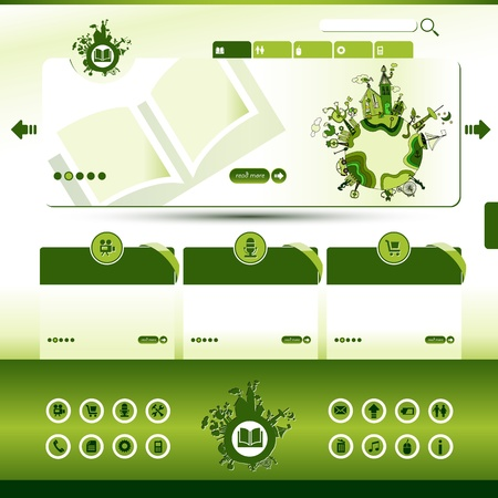 green eco website template with hand-drawn earth motive Vector