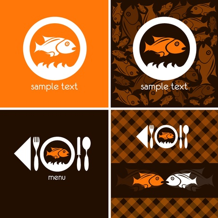 brown trout: logo and background for fish company