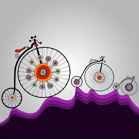 velocipede: old colorful bicycles template with space for your message