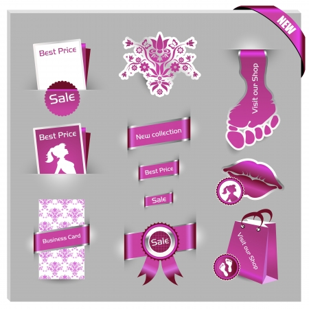 detailed pink label set for women shop and web shop  Vector