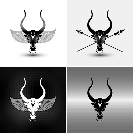 bull rings: four logo type variations of iron bull icons and backgrounds