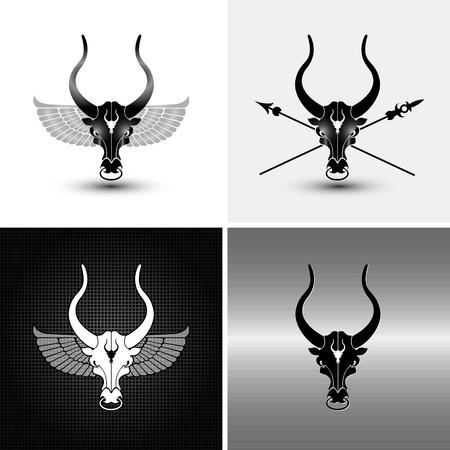 matador: vier logotype variaties van ijzer stier iconen en achtergronden
