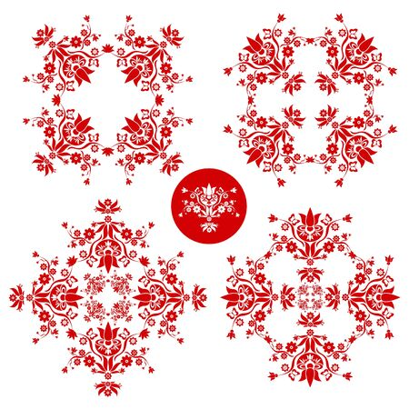 red and white folk floral decoration for easter, wedding and other festivities