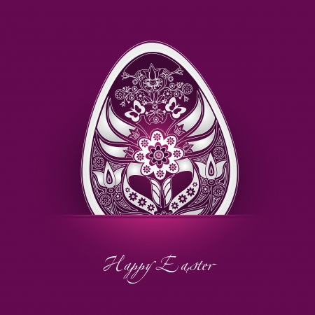 decorative easter egg label with cyclamen background Stock Illustratie