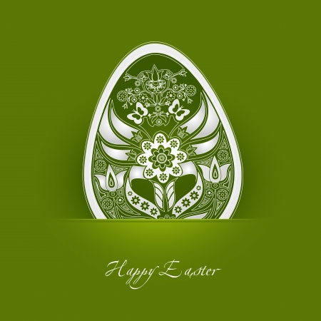 decorative easter egg label with green background  Vector