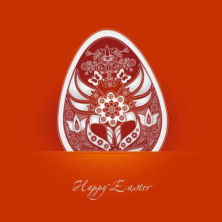 decorative easter egg label with orange background
