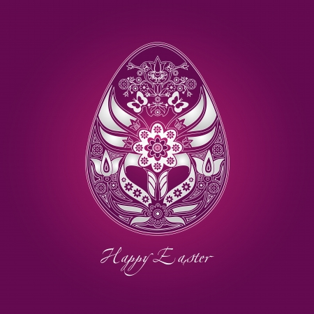 happy easter greeting card with white decorative egg containing folk motifs