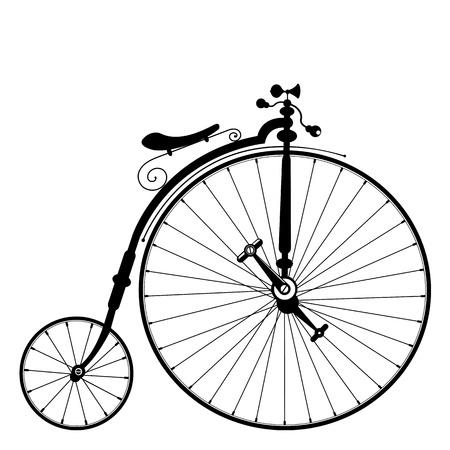 bicicleta retro: plantilla vieja bicicleta sobre fondo blanco limpio
