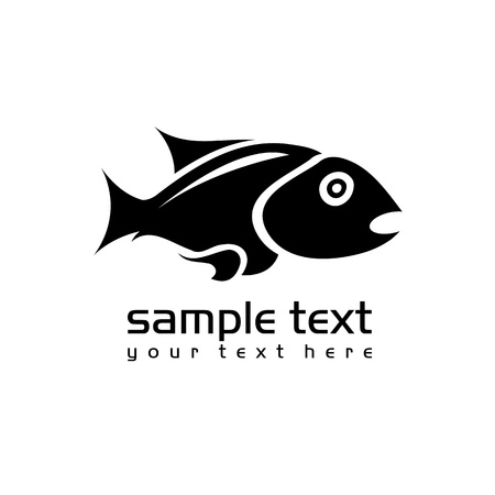 black isolated fish on white background  Vector