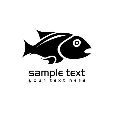 black isolated fish on white background