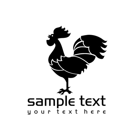 cockerel: black isolated rooster on white background  Illustration