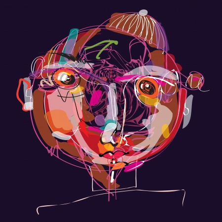 colorful imaginative kid portrait made of abstract line composition  Vector