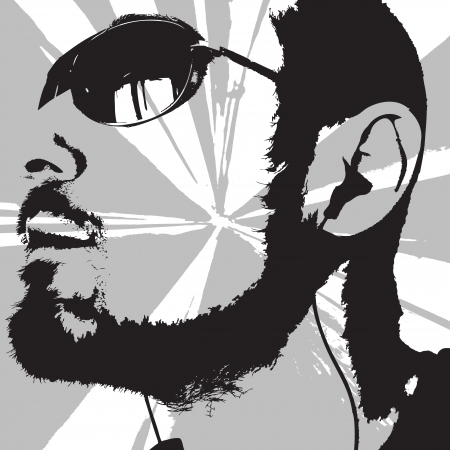 man with sunglasses and earphones looking at the sun  Illustration