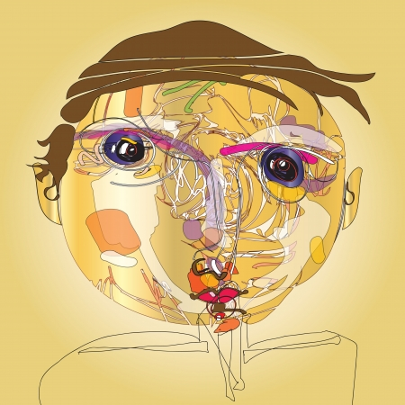 colorful imaginative kid portrait made of abstract line composition II  Vector
