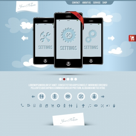 website template for smart phone and mobile phone company Vector
