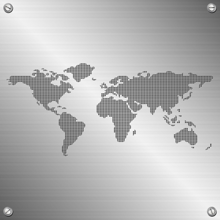 stainless steel background: world map illustration on stainless steel background
