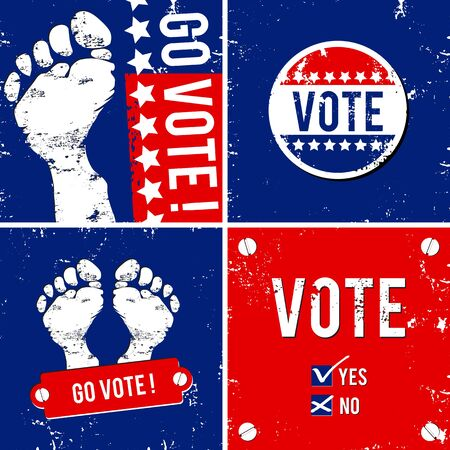 alternative vote banner with footprint background   Vector