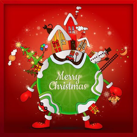 cartoon planet on christmas night in snow fall and star light, with christmas greeting