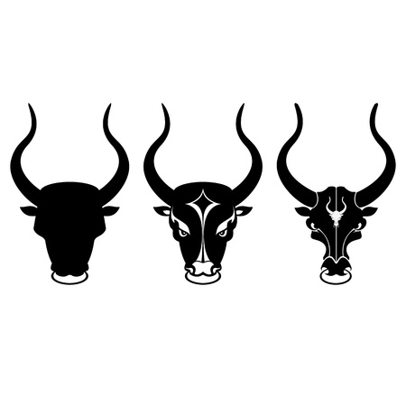 buffalo horn: black and white bull head icons on white clean background  Illustration