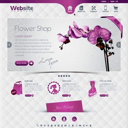 plantilla de página web para floristería y tienda on-line, los efectos desgastados, frota están en capas diferentes, eps10, contiene transparencias para un efecto realista de altura.