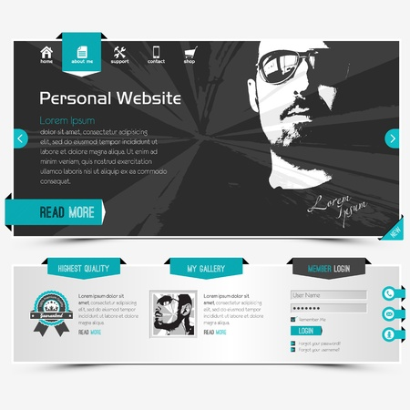 template: website template for personal profile, contains textured labels, buttons and two sample portraits Illustration