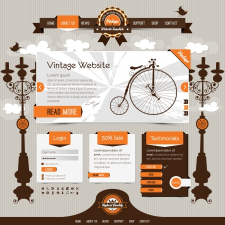 velocipede: vintage website template with retro, classic elements and textured ribbons, labels  Illustration