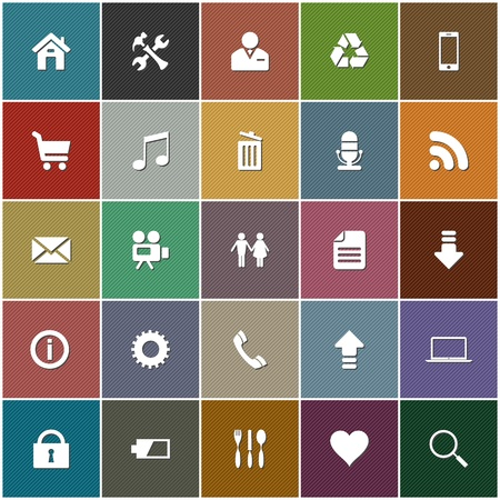 the 25 most popular, general web icons on fine textured pastel colored square