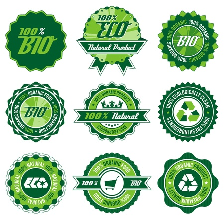 green bio, eco, organic label set with differently varied modern, vintage elements , no transparencies, ideal for prints