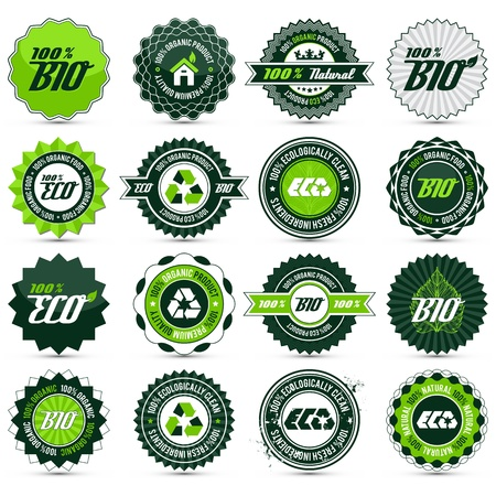 16 green bio, eco, organic labels with differently varied modern, vintage elements, the drop shadow contains transparencies Illustration