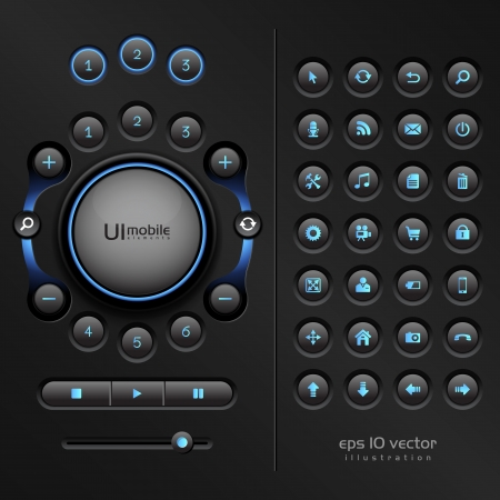 UI elements for mobile devices and other interfaces,  the illustration contains transparencies