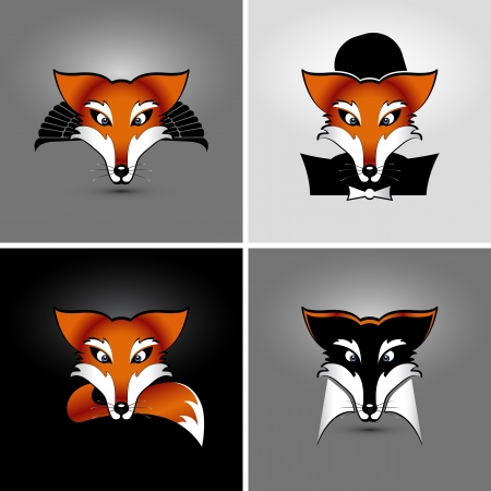 vector drawing of heads of four foxes, eps 10, the drop shadow contains transparencies