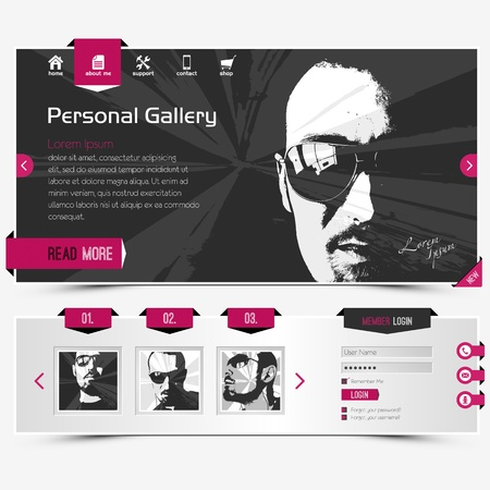 website template for personal gallery, contains textured cyclamen labels, icons and four sample vector portraits
