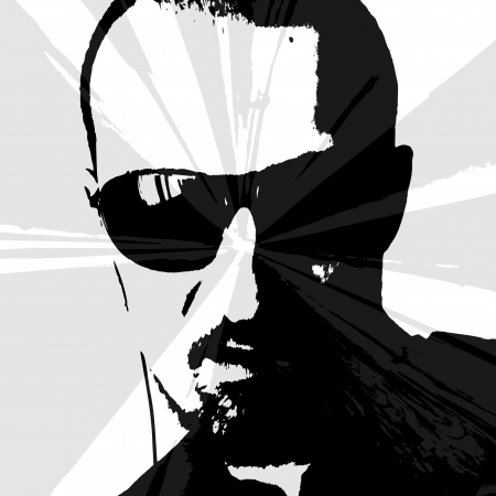 man with sunglasses and earphones looking at the sun IV  Illustration