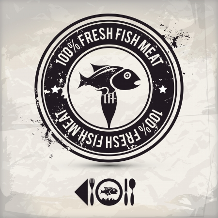 meat alternatives: alternative brown fish stamp on textured background, which is made from several transparent layers for a worn, rubbed effect, therefore saved  Illustration