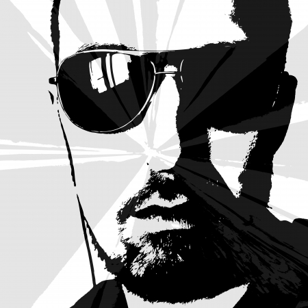 man with sunglasses and earphones looking at the sun V