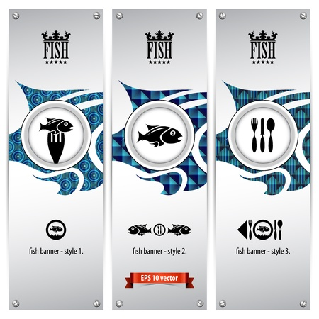 three variations of fish banners with different geometrical designs, these templates are ideal for web banners, eps 10, contain transparencies