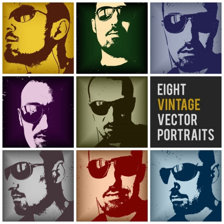 eight vintage vector portraits in different positions and retro colors,  no transparencies, ideal for prints, rubbed effects are on different layers, they can be easily removed